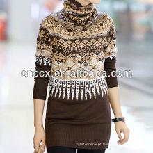 12STC0707 padrões de tricô senhoras camisola de gola alta camisola alemã pullover