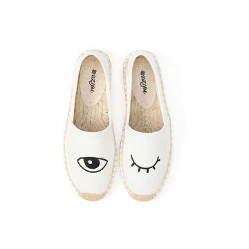 Englische Briefstickerei Patch Frauen flache Leinwand Schuhe