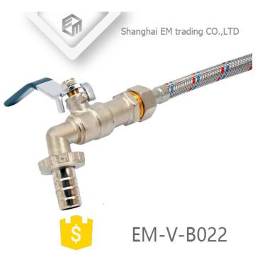 EM-V-B022 High quality steel handle brass bibcock Stainless steel hose connection tap