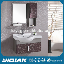 Wall Hang Stainless Steel Ceramic Basin Mirrored Modern SS Bathroom Cabinet