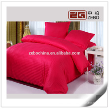 Colorful 1cm Stripe Fabric Cotton Customized Queen Hotel Bedding Sheets