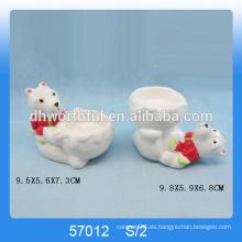 2016 artículos de Navidad nuevos, titulares de vela de Navidad de cerámica con figurilla de oso para la venta al por mayor