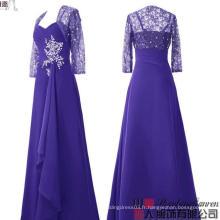 Mariage à manches longues Robes de demoiselle d'honneur Mère de la robe de mariée avec une veste détachée Robe de soirée en cristal plissé