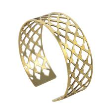 Bracelets en manchette en acier inoxydable en mousse plaqué or avec filets pour homme, RD-1134
