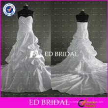 ЭД простое lhbim bridal линия ruched тафты белое свадебное платье 2017