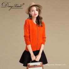 50% reine Kaschmir Frauen Orange Farbe Reißverschluss Strickjacke Wollpullover von Erdos