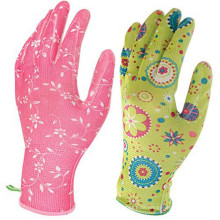 Light weight breathable women flower printed nitrile coated garden gloves