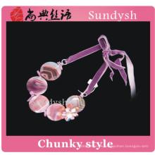 Declaración de moda hecha a mano de moda de la vendimia de piedras preciosas de cristal colorido funky Rosa joyas de moda niñas grandes collares fornidos al por mayor