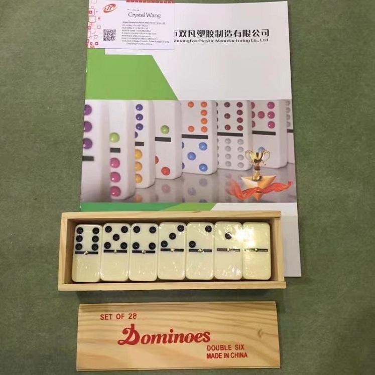 Wooden Box Dominoes Game Set
