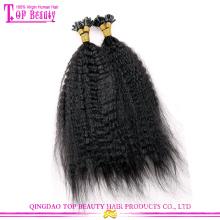 Qingdao 100% virgin indian kinky straight keratin tip human hair extension