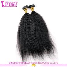 Qingdao 100% virgem indiano kinky reta queratina ponta extensão do cabelo humano