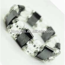 Bracelet d'espace d'hématite magnétique avec des billes rondes en alliage et 8MM