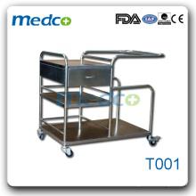 Chariot instrument médical d'hôpital en acier inoxydable T001