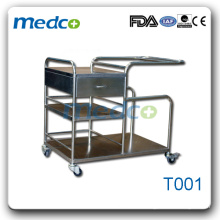 T001 Stainless steel hospital medical instrument trolley