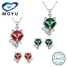 china fashion jewelry sets wholesale fox pendant ,earring with natural stone