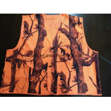 Safety Vest with All Over Print 100%Polyester Orange Colour