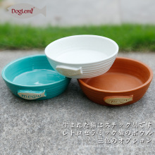 Bacia cerâmica do alimentador do alimento do gatinho do gato da bacia do gato da natureza 3 cores