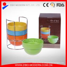 Großhandel Farbe Glasur Keramik Stapelbare Schüssel mit Metall Rack