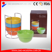 Wholesale Color Glaze Ceramic Stackable Bowl with Metal Rack