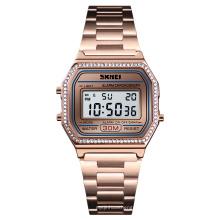 SKMEI 1474 Fashion Women Stainless Steel Wristwatches Diamond Alloy Digital Watches