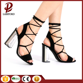 Wholesale suede lace girls heel sandal shoes