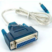 USB a IEEE 1284 adaptador de cable paralelo de la impresora del DB25 de 25 hebras de la aguja Azul