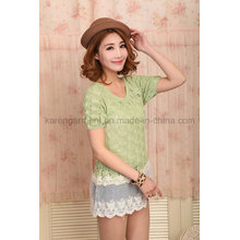 Girls Short Sleeve Crochet Sweater with Lace Hem