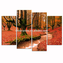 Autumn Forest Poster/Wood Frame Stretched Canvas Print/Forest Stream Picture Giclee Print