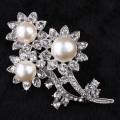 Bridal Rhinestone Brooch, Bridal Flower Brooch Pin with Pearl and Clear Rhinestone Crystal wholesale price