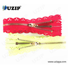 Light Gold Heavy Duty Lace Metal Zippers / Lace with Teeth