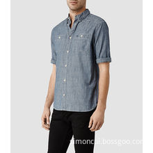 Man Full Cotton Plain Dyed Double Chest Pocket Short Sleeve Shirt