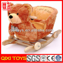 High quality cute gift plush bear rocking chair with music