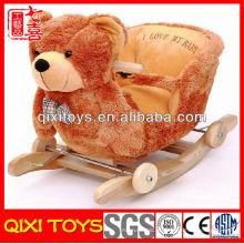 Alta qualidade bonito presente de pelúcia urso cadeira de balanço com música