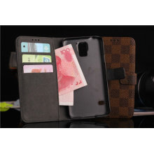 Grid Wallet Style Buckle PU Leather Case for Samsung S5 (HO-08)