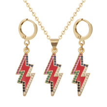 Lightning Shaped Pendant Necklace Earring Crystal Fashion Jewelry Set Stainless Steel for Women Gold Plated Charm Necklaces Gift