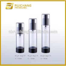 Botella airless de 30ml / 40ml / 50ml, botella airless redonda de aluminio, botella airless cosmética