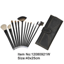 12pcs black handle animal/nylon hair makeup brush kit with black Stitching canvas case