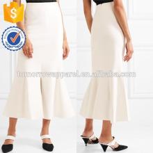 Nova Moda Branco Stretch-knit Saia Midi DEM / DOM Fabricação Atacado Moda Feminina Vestuário (TA5163S)