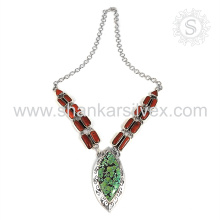 Aristocrático coral e turquesa gemstone colar de prata atacado 925 jóias de prata esterlina jóias indianas