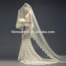 Vestido de novia de estilo coreano velo de novia largo velo de novia boda suave nuevo encaje de trapeador 3 m velo de novia catedral larga