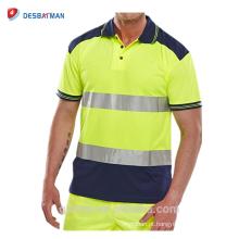 2018 de Alta Qualidade Oi Vis Camisa de Duas Cores Pólo Camisa Logotipo Personalizado Impresso Alta Visibilidade Reflexiva T-shirt