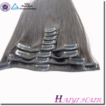 Venta caliente venta al por mayor doble virgin remy extenido cabello humano 120g clip en el pelo