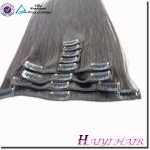 Vente chaude en gros double tiré vierge Remy cheveux humains extention 120g clip dans les cheveux