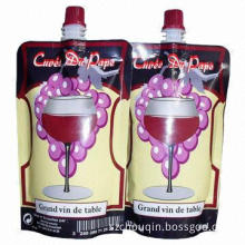 Plastic wine pouch with spout, stand up, oxygen-proof