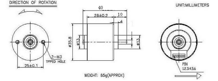 brushless dc motor dimensions