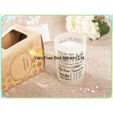 Vela de soja perfumada artesanal em jarra de vidro transparente personalizada