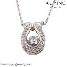 Collier-00073 Mode cristaux d'imitation rhodium élégant de Swarovski bijoux pendentif collier