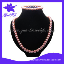 2013 Hot Gus-Hns-026 Plating Color as Pink Magnetic Necklace in Hematite Material as Necklace and Bracelet Set