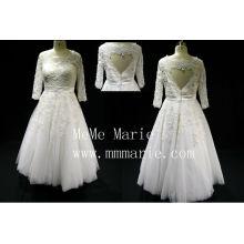 Подходящее короткое стране с бисером три четверти свадебные платья БЫБ-14591