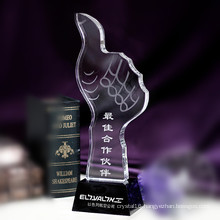 Thumb Shape Crystal Glass Trophy